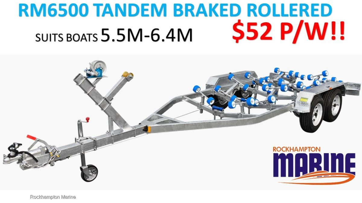 RM BOAT TRAILERS 6500 BRAKED TANDEM ROLLERED TRAILER SUITS BOATS 5.5M-6.4M
