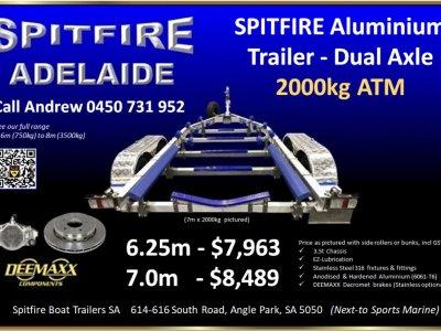 NEW TRAILER - Spitfire Aluminium Boat Trailer Dual Axle 2000kg ATM