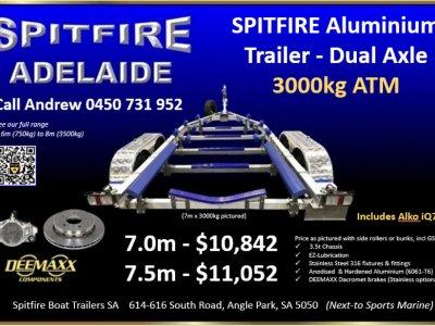 NEW TRAILER - Spitfire Aluminium Boat Trailer Dual Axle 3000kg ATM