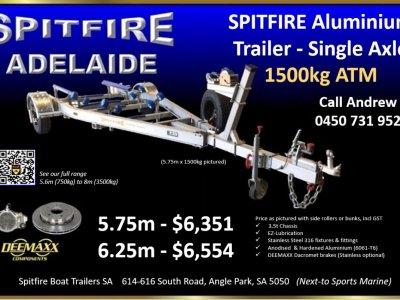 NEW TRAILER - Spitfire Aluminium Boat Trailer Single Axle 1500kg ATM